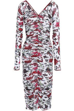 DIANE VON FURSTENBERG Ruched floral-print mesh midi dress