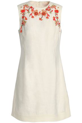 TORY BURCH Embellished embroidered linen mini dress