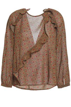 BA&SH Open-back ruffled jacquard blouse