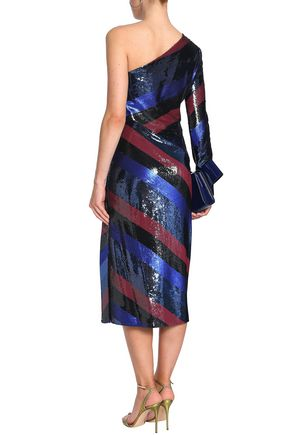 DIANE VON FURSTENBERG One-shoulder striped sequined silk midi dress