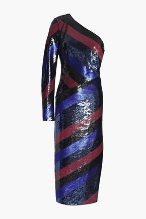 DIANE VON FURSTENBERG One-shoulder striped sequined silk midi dress