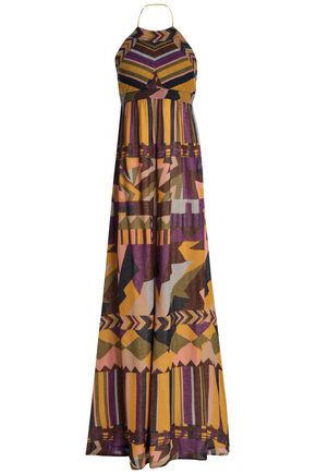 BA&SH Cutout printed cotton-gauze halterneck maxi dress