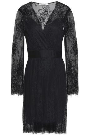 DIANE VON FURSTENBERG Satin-trimmed lace dress