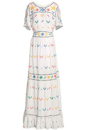 BA&SH Gathered embroidered woven maxi dress