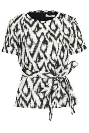 BA&SH Tie-front metallic cotton-blend jacquard top