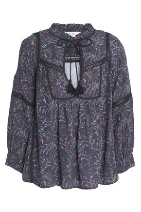 BA&SH Ruffled printed crepe blouse