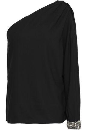 BA&SH One-shoulder embellished crepe top