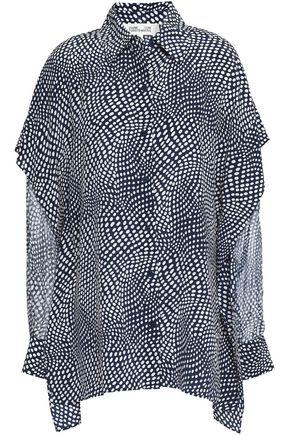 DIANE VON FURSTENBERG Polka-dot silk-georgette shirt