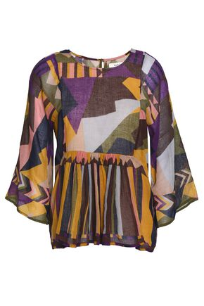 BA&SH Printed cotton-gauze blouse