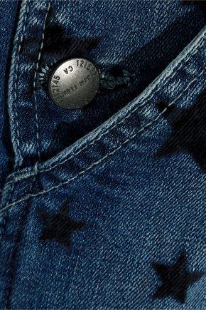 CURRENT/ELLIOTT The Rollin cropped flocked denim overalls