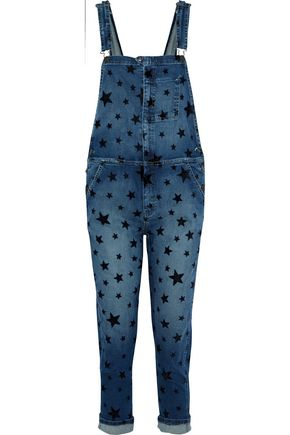 CURRENT/ELLIOTT The Rollin cropped flocked denim overalls