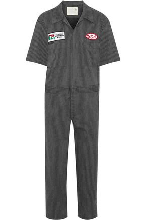 R13 Mechanic appliquéd pinstriped cotton-blend twill jumpsuit