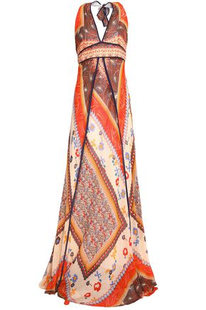 BA&SH Printed cotton-gauze halterneck maxi dress