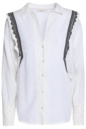 BA&SH Embroidered cotton-poplin shirt