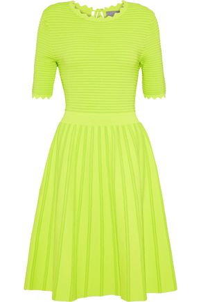 LELA ROSE Flared stretch-knit dress
