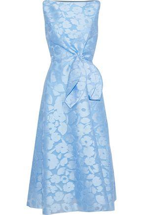 LELA ROSE Knotted fil coupé organza midi dress