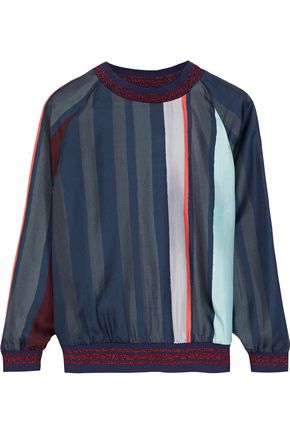RAOUL Metallic-trimmed striped silk-twill top