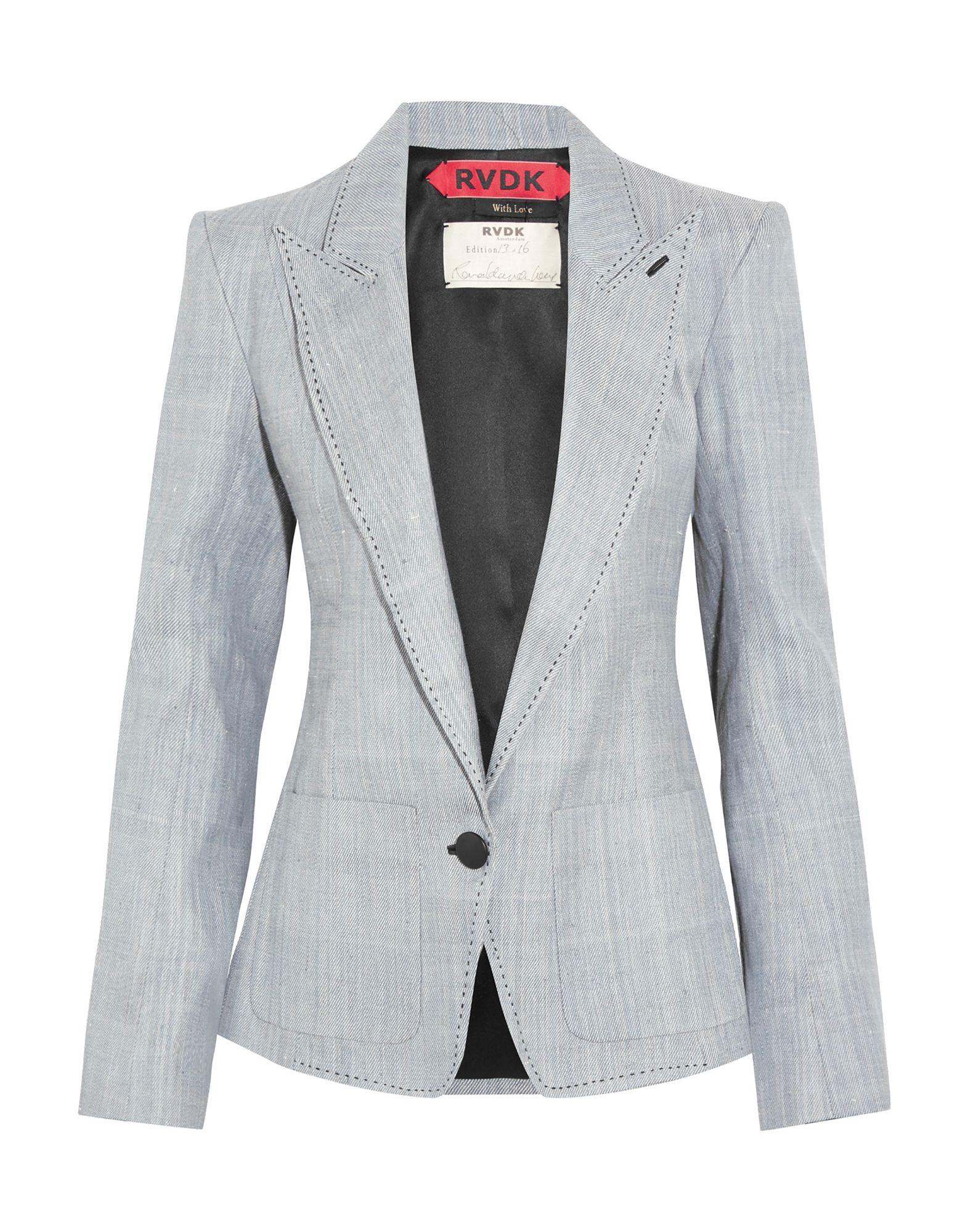 《セール開催中》RONALD VAN DER KEMP レディース テーラードジャケット ブルー 34 コットン 100% / 羊革(ラムスキン)