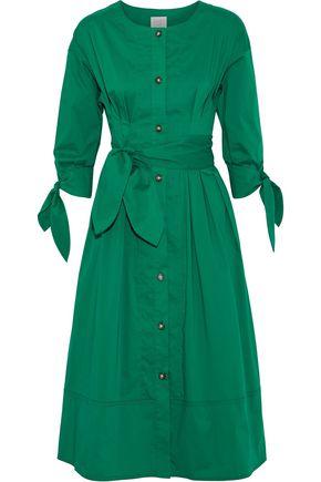 GREY JASON WU Belted cotton-blend poplin midi shirt dress
