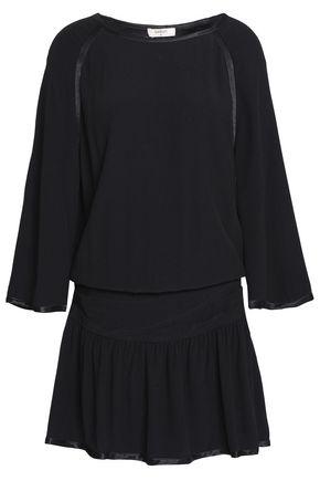 BA&SH Satin-trimmed crepe mini dress
