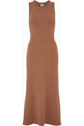 Fluted Ribbed Knit Midi Dress by Grey Jason Wu