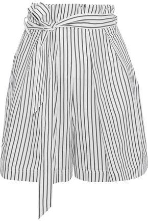 GREY JASON WU Tie-front striped poplin shorts
