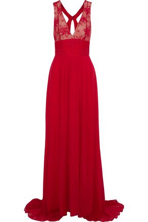 MONIQUE LHUILLIER Lace-paneled pleated cotton-blend chiffon gown