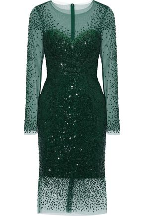 MONIQUE LHUILLIER Sequined tulle dress