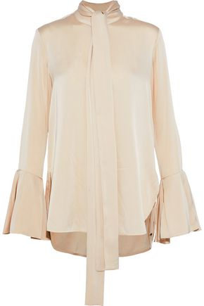 ELLERY Noveau pussy-bow washed silk-blend blouse