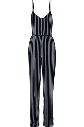 RAG & BONE Rosa tie-front striped crepe jumpsuit