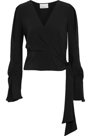 3.1 PHILLIP LIM Wrap-effect ruched silk crepe de chine blouse