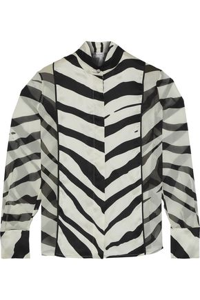 LANVIN Printed silk-satin and gauze blouse