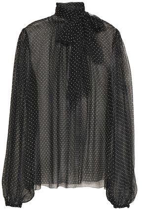 085d278f Pussy-bow polka-dot silk-chiffon blouse | DOLCE & GABBANA | Sale up ...