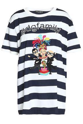 DOLCE & GABBANA Appliquéd striped cotton-jersey T-shirt