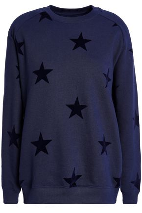 ZOE KARSSEN Flocked French cotton-terry sweatshirt