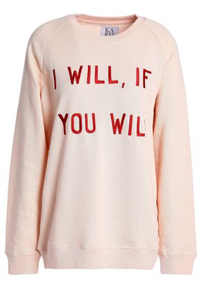 ZOE KARSSEN Embroidered French cotton-terry sweatshirt