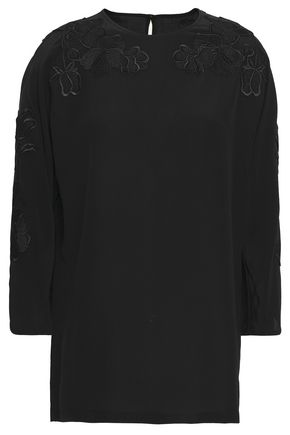 DOLCE & GABBANA Appliquéd silk crepe de chine top