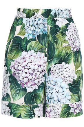 DOLCE & GABBANA Floral-print silk-blend shorts