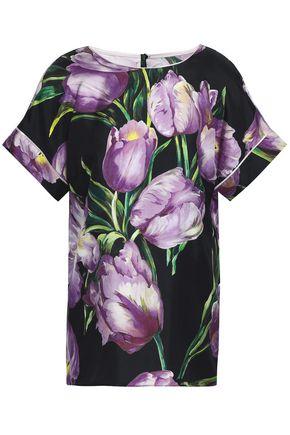 DOLCE & GABBANA Floral-print silk top