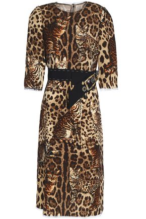 DOLCE & GABBANA Embellished leopard-print wool-blend crepe dress