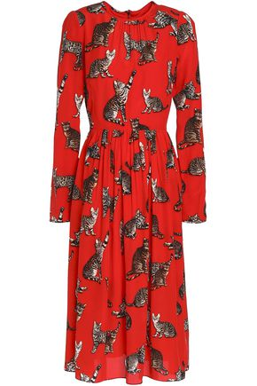 DOLCE & GABBANA Gathered printed silk-blend crepe de chine dress