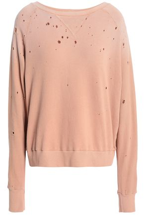 LNA Distressed French cotton-terry sweatshirt