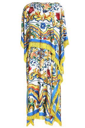 DOLCE & GABBANA Fringed printed twill and silk-blend midi dress