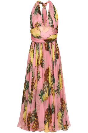 DOLCE & GABBANA Gathered printed silk-chiffon halterneck midi dress