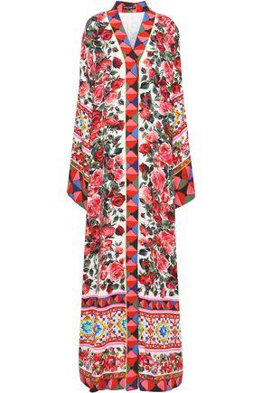 DOLCE & GABBANA Floral-print silk-charmeuse maxi dress