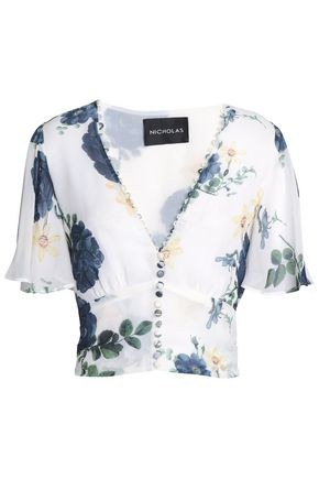 NICHOLAS Floral-print silk-crepe blouse