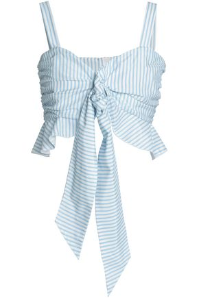 NICHOLAS Cropped striped cotton and silk-blend poplin top