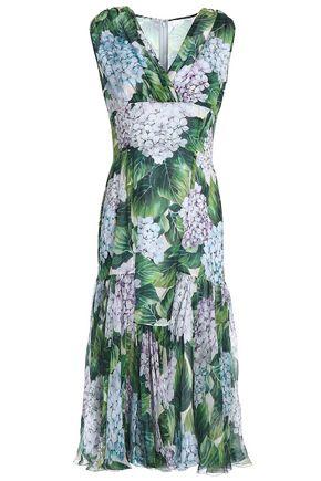 DOLCE & GABBANA Fluted floral-print silk-blend chiffon midi dress