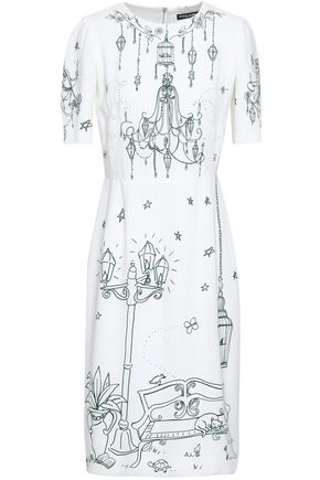 DOLCE & GABBANA Gathered printed crepe dress