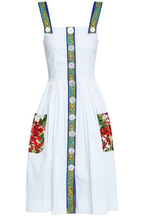 DOLCE & GABBANA Jacquard-trimmed pleated cotton dress